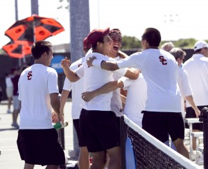 Sweet 17 · The USC men's tennis team, seen here celebrating after its seminfinal win, had even more to celebrate a few days later when the Trojans defied the odds to win the school's 17th national championship. -  Courtesy of USC Sports Information