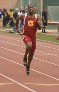 Another notch in his belt · Junior Ahmad Rashad wins the 100-meter sprint again and is among the favorites to win in next week's NCAA Championship, where the individual competition will be emphasized.  Dieuwertje Kast | Summer Trojan