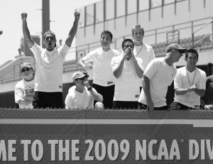 Photo courtesy of USC Sports Information More to cheer about · Only a week after winning the national championship, the Trojans are awarded the 2008 Pac-10 championship. Photo courtesy of USC Sports Information
