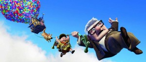 Up, up and away · Seventy-eight-year-old Carl Fredrickson lives his childhood dream of adventuring when he attaches thousands of balloons to his house and sets sail for South America. Unbeknownst to Carl, he is accompanied by 8-year-old Russell and a colorful cast of characters. Photos Courtesy of Buena Vista Pictures