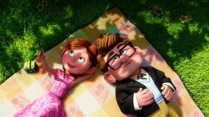 "Young Carl and his wife, Ellie, relax while on a picnic. An emotionally powerful montage at the film's beginning of ""Up"" depicts Carl and Ellie's life together, from their first kiss to their last days. Photos Courtesy of Buena Vista Pictures"
