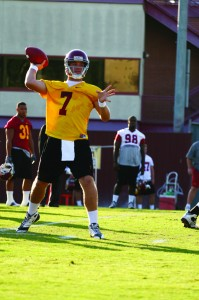 Working his way · Matt Barkley, who did not play in Saturday's loss, was able to practice Monday. - Tim Tran | Daily Trojan