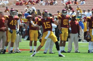 Status regained? · Redshirt sophomore Aaron Corp was supposed to be the Trojans' starter heading into fall camp, but a cracked fibula opened it up for Matt Barkley to win the quarterback spot. With Corp perhaps in position to start Saturday, Carroll says he is ready to go. - Mike Lee | Daily Trojan