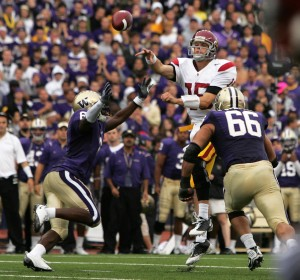 Pressure cooker · Washington's defense kept the heat on USC quarterback Aaron Corp, limiting him to 110 yards and one interception. - Leah Thompson | Daily Trojan