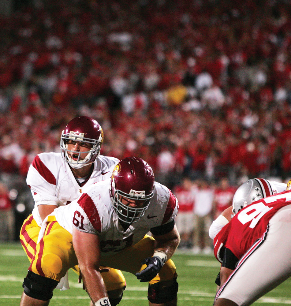 Matt Barkley, USC's 19-year-old freshman quarterback (left), led the Trojans to victory in Saturday's game against Ohio State. Barkley completed 15 of 31 pass attempts and threw for 195 yards. But more important than his stats, Barkley orchestrated an 86-yard  touchdown drive in the final minutes of the game to lift the Trojans to a 15-10 win. For game coverage see today's Sports section. - Leah Thompson  | Daily Trojan