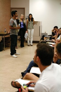 Money talks · USG Treasurer Ashwin Appiah (left) gives a presentation to members of student organizations about how to secure USG funding. - Constance Shao | Daily Trojan
