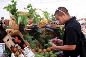 Eat fresh · Jarod Wunneburger, a senior majoring in sociology, inspects produce at USC Hospitality's Trojan Fresh Market on Sept. 17. The Trojan Fresh Market is one of many options available on and around campus for students to buy organic food. - Dieuwertje Kast | Daily Trojan