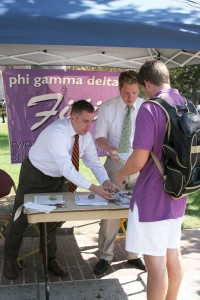 Comeback · Recruiters from Phi Gamma Delta's national office tell sophomore Collin Rice about the fraternity, which has returned to USC. - Dieuwertje Kast | Daily Trojan