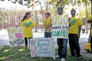 Eco-friendly · Students and members of the Sierra Club demonstrated last week in hopes of getting USC to end its reliance on coal for power. - Mike Lee | Daily Trojan