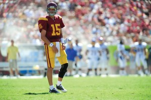 In line · Corp took first-team reps for the third time this week. - Eric Wolfe| Daily Trojan