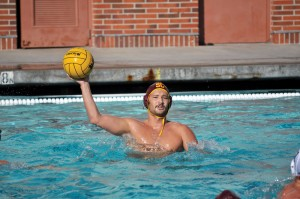 Home cooking · Senior driver Matt Sagehorn's two goals helped the Trojans win their 34th consecutive match at McDonald's Swim Stadium. - Manat Saini | Daily Trojan