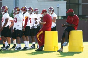 Looking on · Frankie Telfort (right) was all set to play linebacker at USC. But after being diagnosed with a heart condition, Telfort has found a new role. - Tim Tran | Daily Trojan