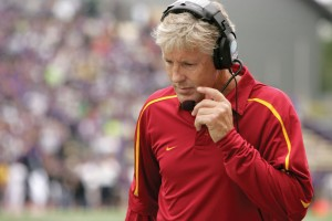 Unfamiliar ground · USC coach Pete Carroll is not often outcoached in football games, but that was clearly the case Saturday in the Trojans' upset loss to Washington, columnist Michael Middlehurst-Schwartz writes. - Leah Thompson | Daily Trojan