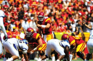 Back in action · After a shoulder injury held freshman quarterback Matt Barkley out of the lineup last week in Seattle, Barkley is back behind center this Saturday looking to help the Trojans rebound. - Eric Wolfe | Daily Trojan