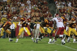 Welcome return · Freshman Matt Barkley did not disappoint in his return to the starting lineup Saturday, finishing with 247 yards and two long touchdown passes to receivers Damian Williams and Brice Butler. - Dieuwertje Kast   Daily Trojan