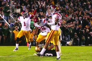 False alarm · USC's defense celebrates its victory after what it thought was the final play of the game. The officials ruled that there was one second left on the clock, giving Notre Dame another chance, but the Trojans again prevented the Irish from scoring. - Dieuwertje Kast | Daily Trojan