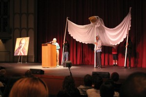 Taking wing · A peace dove with a 20-foot wingspan was displayed on the stage during Jane Goodall's speech at Bovard Auditorium Tuesday to reinforce her message of nonviolent conflict resolution. Goodall is the recipient of a Gandhi-King Award. - Dieuwertje Kast | Daily Trojan
