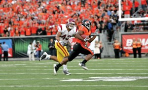 Mighty threat · The 5-foot-6, 190-pound Oregon State running back Jacquizz Rodgers ran all over the Trojans in an upset victory in 2008. - Leah Thompson | Daily Trojan