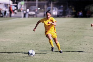 Stepping in · Substitute  junior midfielder Alyssa Dávila came off the bench to score one goal and tally three assists in USC's 4-0 victory. - Mike Lee | Daily Trojan