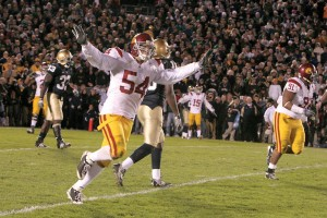 Taking flight · Sophomore linebacker Chris Galippo celebrates after the Trojans defense held off Notre Dame's last-minute rally. Galippo anchors a defense that ranks fifth nationally, letting up only 11.7 points per game. - Dieuwertje Kast | Daily Trojan