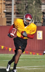 Back in action · Coming off a clavicle break, Ronald Johnson wore a non-contact yellow jersey at his first practice since suffering the injury.- Mannat Saini | Daily Trojan