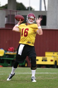 Moving on up · Redshirt junior quarterback Mitch Mustain, once considered left out of the quarterback race, has shown enough improvement in the past few weeks to earn the No. 2 spot behind Matt Barkley. - Tim Tran | Daily Trojan