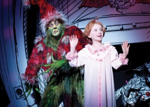Whoville · Stéfan Karl (left) stars as the hideous and bitter title character in Dr. Seuss' How the Grinch Stole Christmas! The Musical at the Pantages Theatre in Hollywood. The musical adaptation, which also features Kayley Stalling as Cindy Lou Who, runs now until Jan. 3. - Photo courtesy of Broadway LA