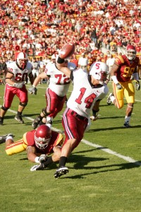 Shock of the year · Tavita Pritchard (14) and the Cardinal stunned USC in 2007, a game which some called the biggest upset of all time. - Photo courtesy of Joel Zink