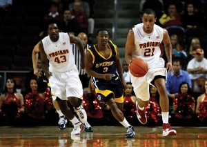 Fast break · Senior Dwight Lewis got USC out of the gate fast against UC Riverside, scoring 20 points in the Trojans' 77-67 win on opening night. - Mike Lee | Daily Trojan