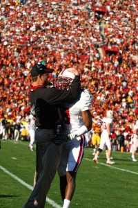 Running it up · Stanford coach Jim Harbaugh decided to go for two with the game out of reach. - Tim Tran | Daily Trojan