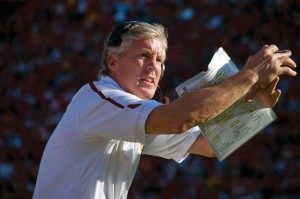 Deal breaker · Pete Carroll questioned Stanford coach Jim Harbaugh about his surprising decision to go for two late in the game, sources said. - Young Kim | Daily Trojan