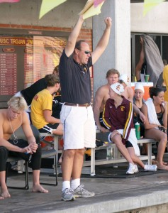 Fired up · USC swimming coach Dave Salo said defending champion Arizona will serve as a measuring stick for the up-and-coming Trojans. -Dieuwertje Kast | Daily Trojan