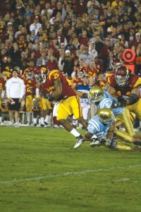 On the ball · Senior safety Will Harris intercepted a UCLA pass right after halftime for the USC defense's third turnover of the night. - Tim Tran | Daily Trojan