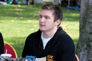 Holding on · Holden Slusher, president of the Undergraduate Student Government, has made a point of increasing outreach. - Dieuwertje Kast   Daily Trojan
