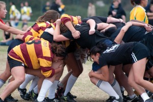 Physical situation · The USC women's rugby team takes part in a scrum at UC San Diego's annual Scrum by the Sea. The club is recruiting heavily on campus in preparation for its upcoming second season of action. - Dieuwertje Kast | Daily Trojan