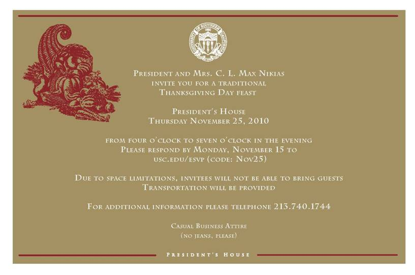Nikias Sends Out Thanksgiving Invitations  Daily Trojan