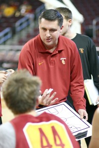 Fresh start · Interim head coach Bob Cantu will lead the USC men's basketball team for the final 14 games of the regular season, as well as the Pac-12 tournament, beginning March 13 in Las Vegas. -  Daily Trojan file photo