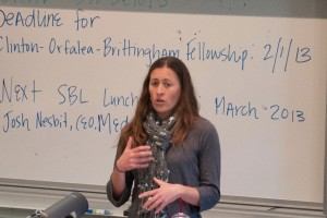 Going green  · Elissa Loughman, an environmental anaylst at Patagonia, speaks to students about her company's dedication to being environmentally concious, encouraging their customers to do the same. - Priyanka Patel | Daily Trojan