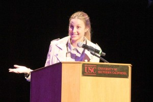 Starling alumna · Whitney Port speaks to an audience of students Thursday night in Bovard Auditorium about career development. - Ani Kolangian | Daily Trojan