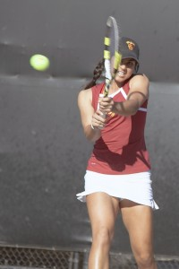Serving aces · USC sophomore Zoe Scandalis is ranked No. 19 and No. 13 in the country in singles and doubles play, respectively.  - Ralf Cheung | Daily Trojan