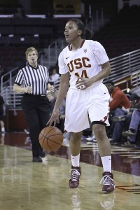 On fire · Sophomore guard Ariya Crook finished Thursday's matchup with a team-high 21 points to go with five rebounds and four assists in USC's 71-63 overtime loss against the No. 7 Cal Golden Bears.  - Chris Pham | Daily Trojan