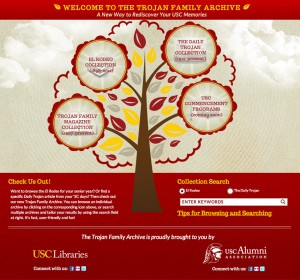 Family tree · USC Libraries and the Alumni Association officially launch the Trojan Family Archive online at alumni.usc.edu/archive. Readers can peruse El Rodeos from 1909 to 2005 and Daily Trojan issues from 1916 to 1988. - Screenshot by Rachel Bracker | Daily Trojan