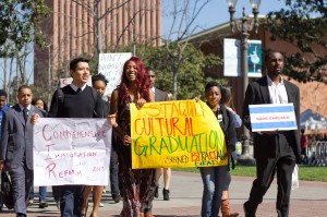 Historic · Black Student Assembly Director Lamar Gary leads students down Trousdale Parkway Tuesday in the March on Trousdale. - Joseph Chen | Daily Trojan
