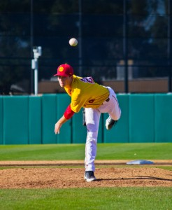 Going the distance · With a depleted bullpen, freshman lefthander Kyle Twomey threw a complete game in Sunday's 4-2 win over CSUN. — Joseph Chen | Daily Trojan