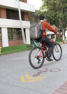 Wrong way · Prior to the bike lanes, a Dept. of Public Safety survey found nearly 25 percent of undergraduates were involved in accidents. — Austin Vogel | Daily Trojan