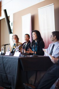 Radical reform · Michelle Rhee, Catherine Shieh and Ben Austin (right to left) debates the challenges facing California public schools. - Ralf Cheung | Daily Trojan