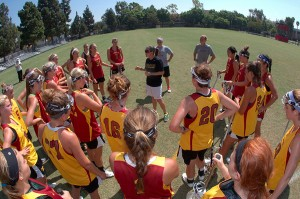 Ready for action · With the wealth of experience and success that head coach Lindsey Munday (center) brings, the USC women's lacrosse team has the leadership to succeed early despite its difficult schedule. -  Courtesy of USC Sports Information Dept.
