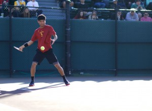 Straight-set victory · Junior Ray Sarmiento earned a point for the Trojans in their match against the Toreros with a 6-3, 6-3 win over San Diego's Romain Kalaydjian. Sarmiento is the No. 14 singles player in the country.  - Ralf Cheung | Daily Trojan