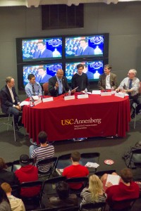 Country talk · Matt Rodriguez, Austin Coleman, Dean Ernest Wilson III, Charlie Epting, Bill Simon and Dan Schnur speak at a panel Tuesday evening following President Barack Obama's State of the Union address.  - Joseph Chen | Daily Trojan