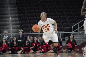 Road weary · Sophomore guard Ariya Crook scored 15 points in the team's 61-58 loss to the Washington Huskies on Sunday in Seattle.  - Priyanka Patel | Daily Trojan